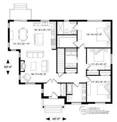 Plan de Rez-de-chaussée Maison 3 chambres, champêtre rustique, chambre des maîtres avec walk-in et salle de douche privée, buanderie - Providence 1
