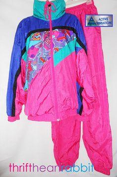 Vintage 80s Neon Windbreaker Suit Set. For sale...$174. Wow! I should have kept mine.