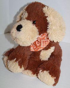 "Circo Dog Plush brown tan Soft Floppy Orange Bandana Stuffed Animal soft Toy 14"" #Circo"
