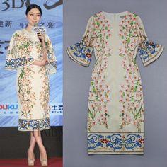 Free Shipping 2014 Stunning Vintage Digital Printing Silk Long Dress 140509BU03 $64.00