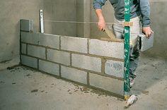 Bricolage | DIY Family Concrete Block Walls, Concrete Retaining Walls, Building Foundation, House Foundation, Cement Design, Brick Design, Bathroom With Shower And Bath, Concrete Sheds, Building A Basement