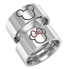 Mickey minnie ring, mice rings, mickey minnie bands, silver band rings, 14k white gold band ring, couple band rings