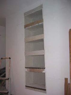 Today is the day!! Drywall shelves placed in niche between studs