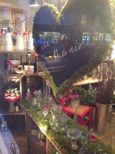 Valentines window display at Lucy Walker flowers x