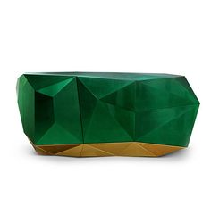 Diamond Emerald Sideboard made from wood finished with a luxurious shade of translucent green emerald with high gloss varnish.  Boca do Lobo Furniture   Luxury Design   High End Furniture www.bocadolobo.com/en