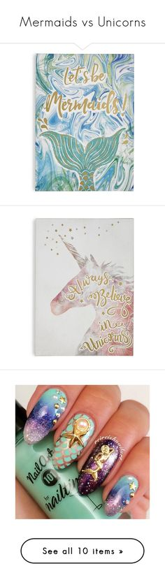 """Mermaids vs Unicorns"" by zaiee on Polyvore featuring home, home decor, wall art, quote canvas wall art, metallic wall art, blue wall art, word wall art, quote wall art, beauty products and nail care"
