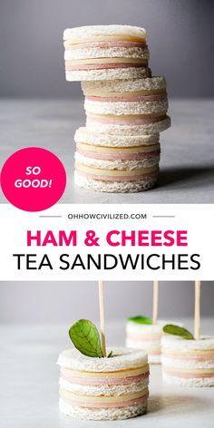 Looking for a bite-sized tea sandwich recipe you can make with the kids? Have fun and make easy ham and cheese tea sandwiches! These crustless tea sandwiches are super easy to make and don't require any cooking. Click to get started! High Tea Sandwiches, Finger Sandwiches, Sandwich Recipes, Snack Recipes, Hot Tea Recipes, Tea Time Snacks, Best Tea, Ham And Cheese, Afternoon Tea
