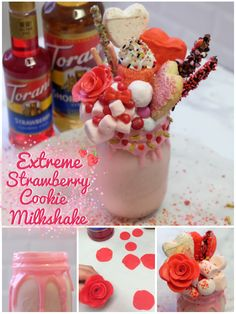 Extreme Strawberry Cookie Milkshake - your Valentine 's mouth will water when he/she sees this over-the-top milkshake goodness - no, seriously!