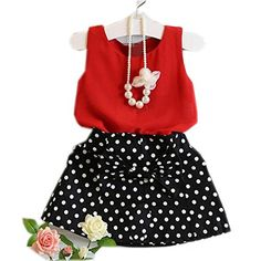 Mosunx 2016 Spring Summer Girls Cute Vest + Skirts Two Pieces Set Clothes Children Skirt Suit (3-4 Years, Red)
