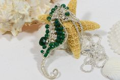 Emerald Wire Wrapped  Seahorse Sterling silver wire by Trendydeals, $160.00
