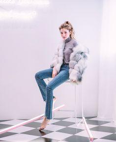 Real Fox Fur jacket - grey - 《公式》Chuu(チュー)レディースファッション通販!