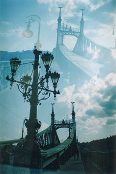film photograpgy double exposure 35mm budapest street view bridge lomography