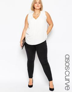 ASOS CURVE Ridley High Waisted Skinny Jean in Washed Black