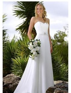 A-Line/Princess Strapless Chapel Train  wedding dress (WS0074