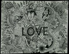 """My """"Love"""" Zentangle by Delphine Misst.... Black Micro pens and pencil."""