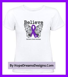 Beautiful inspirational butterfly design with the word BELIEVE on Pancreatic Cancer shirts and gifts by hopedreamsdesigns.com
