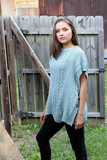 Free Pattern - the Pathways Poncho knit in Fibra Natura Papyrus uses mock cables for added texture. Pretty!