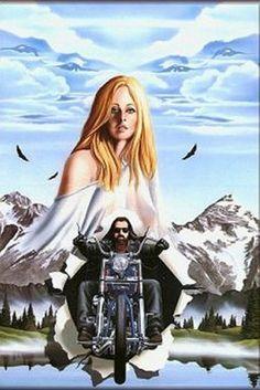David Mann Motorcycle Biker Easyriders Centerfold Art Poster Print Eyes in the Sky Bike Chopper Stur Motorcycle Posters, Motorcycle Art, Bike Art, Motorcycle Memes, Motorcycle Girls, Harley Davidson Kunst, Davidson Bike, Chris Martin, Sky Bike