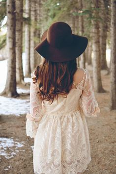 I'm not a hat person. But, as you can see, I have a thing for white lace dresses.