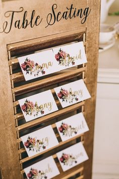 Vintage floral escort cards | Carike Ridout Photography | see more on: http://burnettsboards.com/2015/06/vintage-marsala-wedding/