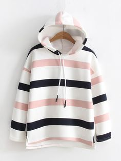 Dip Hem Striped Hoodie - Donelle N. Fashion Mode, Teen Fashion Outfits, Korean Fashion, Girl Fashion, Girl Outfits, Hipster School Outfits, Fashion Styles, Cute Casual Outfits, Stylish Outfits