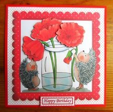 3D Decoupage CARD TOPPER *~* Cute Hedgehogs with Poppies *~*