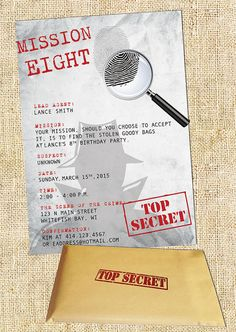 Calling all secret agents or super spies! This 5x7 flat invitation is ideal for a secret agent/spy party. Includes manila envelopes with Top