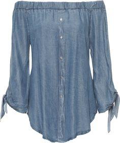 Womens Off Shoulder Gypsy Top Ladies Stretch Denim Long Sleeve Button Shirt