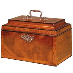 Chippendale Period Mahogany Tea Caddy with Concave-Shaped Lid | From a unique collection of antique and modern boxes at https://www.1stdibs.com/furniture/decorative-objects/boxes/