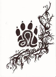 Zodiac Leo Symbol In Paw Tattoo Design Leo Tattoos, Weird Tattoos, Music Tattoos, Cute Tattoos, Body Art Tattoos, Black Tattoos, Fire Tattoo, 1 Tattoo, Tattoo Outline