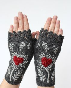 MADE TO ORDER in 4-6 weeks after payment, Knitted Fingerless Gloves, Gloves & Mittens, Gift Ideas, Winter Accessories, Dark Grey, Heart by nbGlovesAndMittens on Etsy https://www.etsy.com/listing/236709869/made-to-order-in-4-6-weeks-after-payment