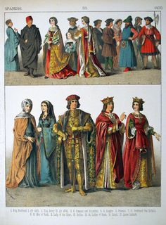 History of Costume | Description 1400, Spanish. - 059 - Costumes of All Nations (1882).JPG
