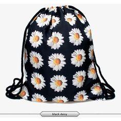 Printed Drawstring Backpack Bag Black Daisy ($10) ❤ liked on Polyvore featuring bags, backpacks, black, rucksack bag, black bag, knapsack bags, backpacks bags and drawstring bag