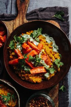 Roast Carrot Dal with herby Raita - Rebel Recipes Lentil Recipes, Veg Recipes, Delicious Vegan Recipes, Cookbook Recipes, Vegetarian Recipes, Healthy Recipes, Lentil Meals, Vegan Soups, Vegan Food