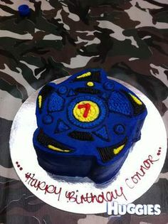 All 5 year old boys will love this Beyblade cake.. All the kids were super excited and the mums wanting the recipe