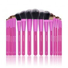 Triple PINK PRO 18 PC Brush Set - Synthetic & Natural Hair with Apron