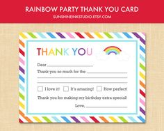 Printable Kids Rainbow Striped Birthday Party Fill in Blank Thank You Card INSTANT DOWNLOAD Digital File on Etsy, $6.00