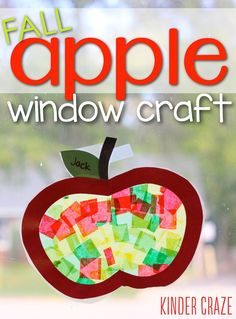 Apple Stained Glass Window Decorations + Free Template Fun Back To School craft for your classroom! Fall apple window crafts are perfect for classroom decoration in your kindergarten classrooms. This is an easy craft your kids are going to love. - Back To Preschool Apple Theme, Fall Preschool, Kindergarten Crafts, Daycare Crafts, Classroom Crafts, Preschool Activities, Kindergarten Apple Theme, School Bus Crafts, Preschool Apples