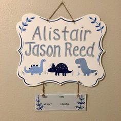 Dinosaur hospital hanger, handpainted dinosaur door hanger, dinosaur nursery, baby dinosaur decor, shades of blue dinosaurs