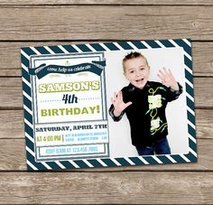 Birthday Banner Custom Photo Invite  Boy van deanworks op Etsy, $15.00