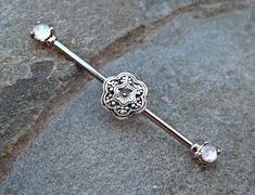 Fire Opal Industrial Barbell with Silver Flower 14ga Body Jewelry Ear Jewelry Double Piercing Upper Ear Jewelry