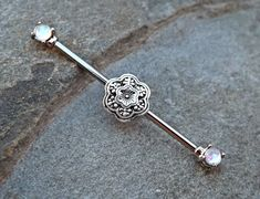 Fire Opal Industrial Barbell with Silver Flower 14ga Body Jewelry Ear Jewelry Double Piercing Upper Ear Jewelry