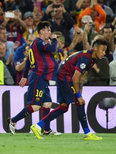 Lionel Messi of Barcelona celebrates after scoring a goal during the UEFA Champions League Semi Final, first leg match between FC Barcelona and FC Bayern München at Camp Nou on May 6, 2015 in Barcelona, Catalonia.