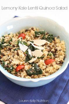 Lemony Kale Lentil Quinoa Salad | Lauren Kelly Nutrition