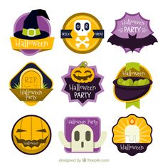 Pack of funny halloween stickers in flat design Free Vector