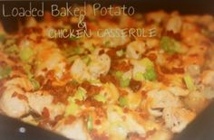 Ingredients: 2 lbs chicken breast cubed/shredded,10-12 small red potatoes diced,1/2 C olive oil,1 tsp salt,1 tbsp pepper, 1/2 tbsp garlic powder,2 C Mexican blend cheese,1/2 C crumbled bacon,1/2 C chopped green onion. Directions: heat oven 475,mix olive oil,salt,pepper & garlic. Add potatoes and coat w/ mixture. Place potatoes in a greased baking dish,leave as much mix as possible.bake potatoes for 1 hour-flip every 15 minutes.coat chicken w/ mixture & cook until done.turn oven to 400,add…