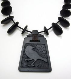 Raven Carved in Black Basalt River Stone with by rebeccabashara, $800.00