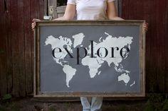 explore Giant Modern World Map Print Poster - 24x36 - gray. $55.00, via Etsy.