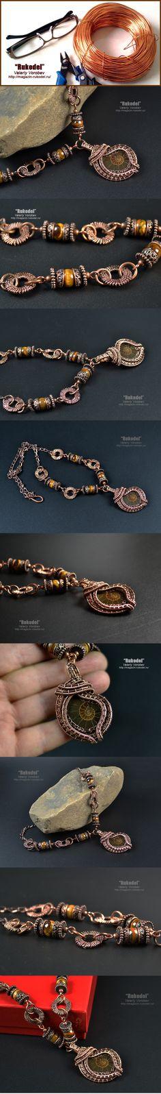 Wire wrap necklace (copper ) - 650 mm Wire Wrap Pendant - 56 x 35 mm Natural…