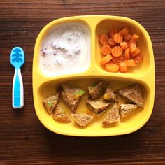 Yogurt with blackberries, steamed brown sugar carrots and mashed pea grilled cheese sandwich.
